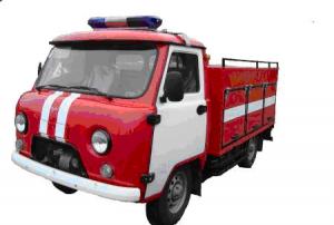 Пожарный автомобиль» первой помощи на шасси УАЗ-33036, цистерна емкостью 900 л из нержавеющей стали AISI 304.